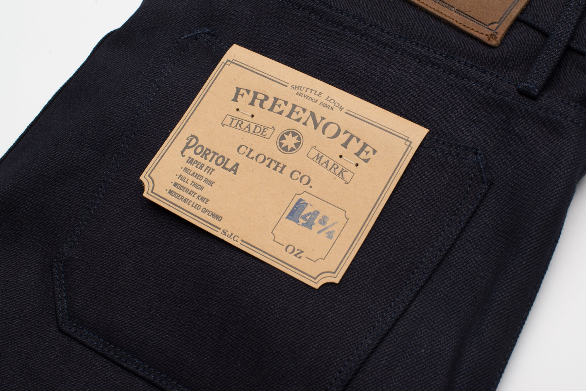 Portola 14.75 oz Blue Black Japanese Denim Back Detail