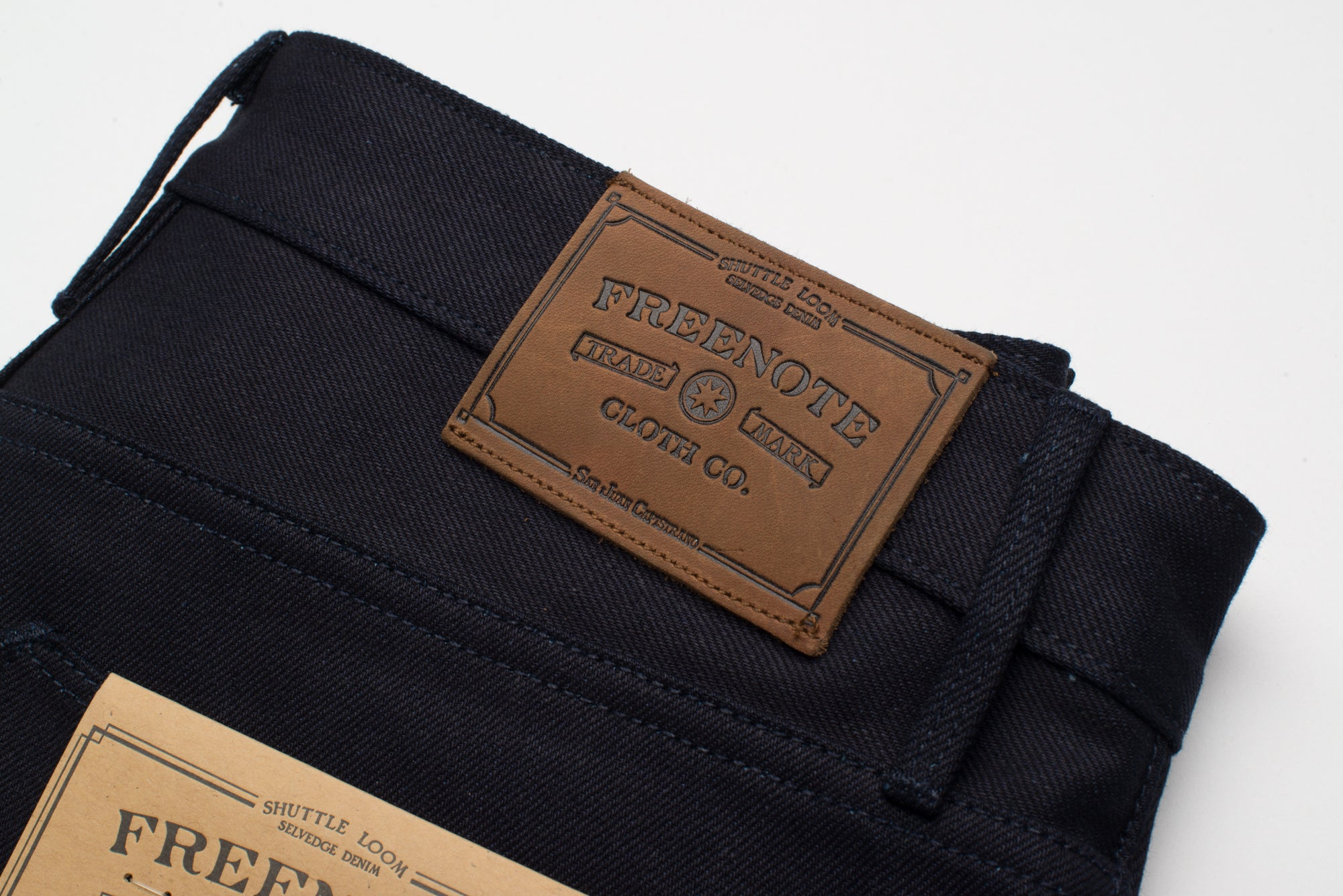 Portola 14.75 oz Blue Black Japanese Denim Back Leather Patch