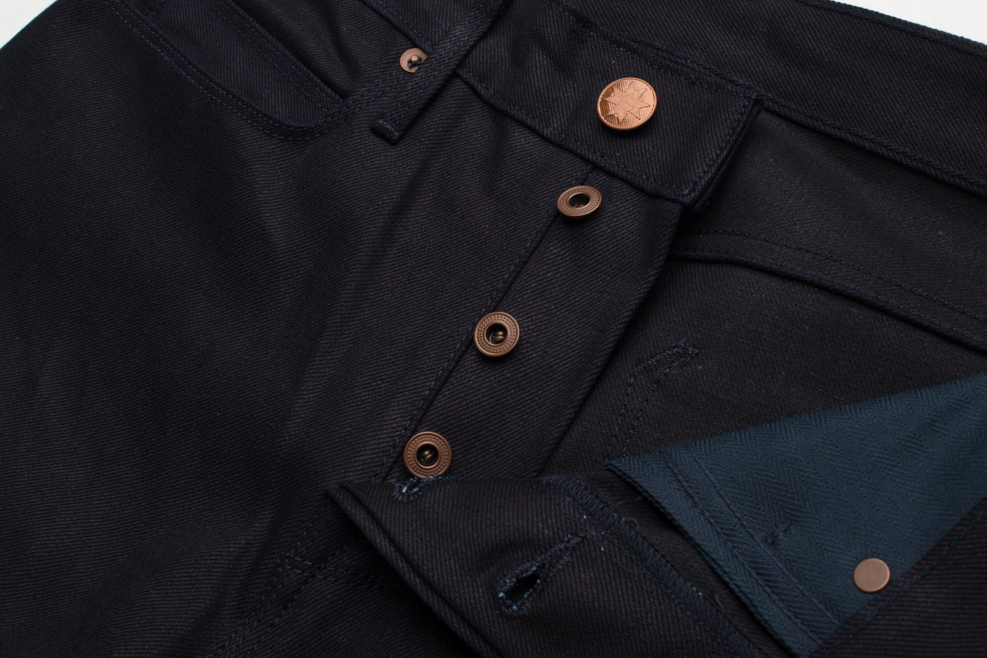 Portola 14.75 oz Blue Black Japanese Denim Fly Construction