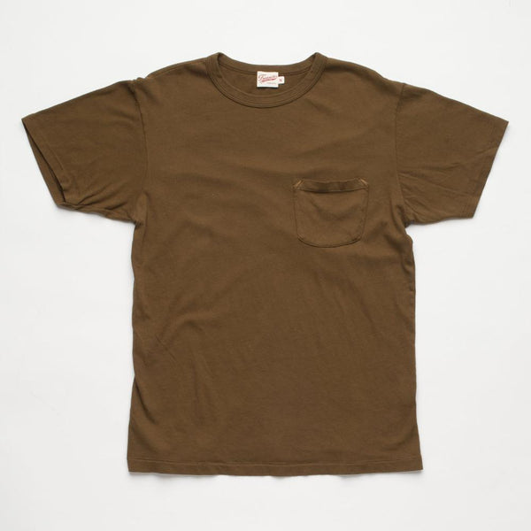 Freenote Cloth | Vintage Wash Pocket T-shirt - Dark Olive | $65