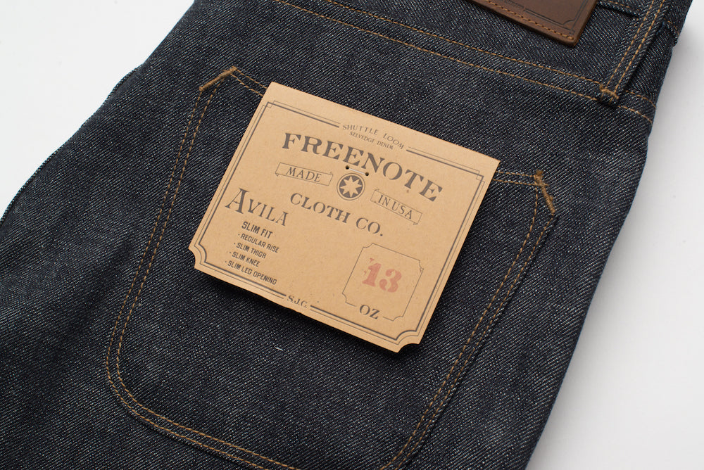 Freenote Cloth | Avila 13 oz Natural Indigo back right | $250