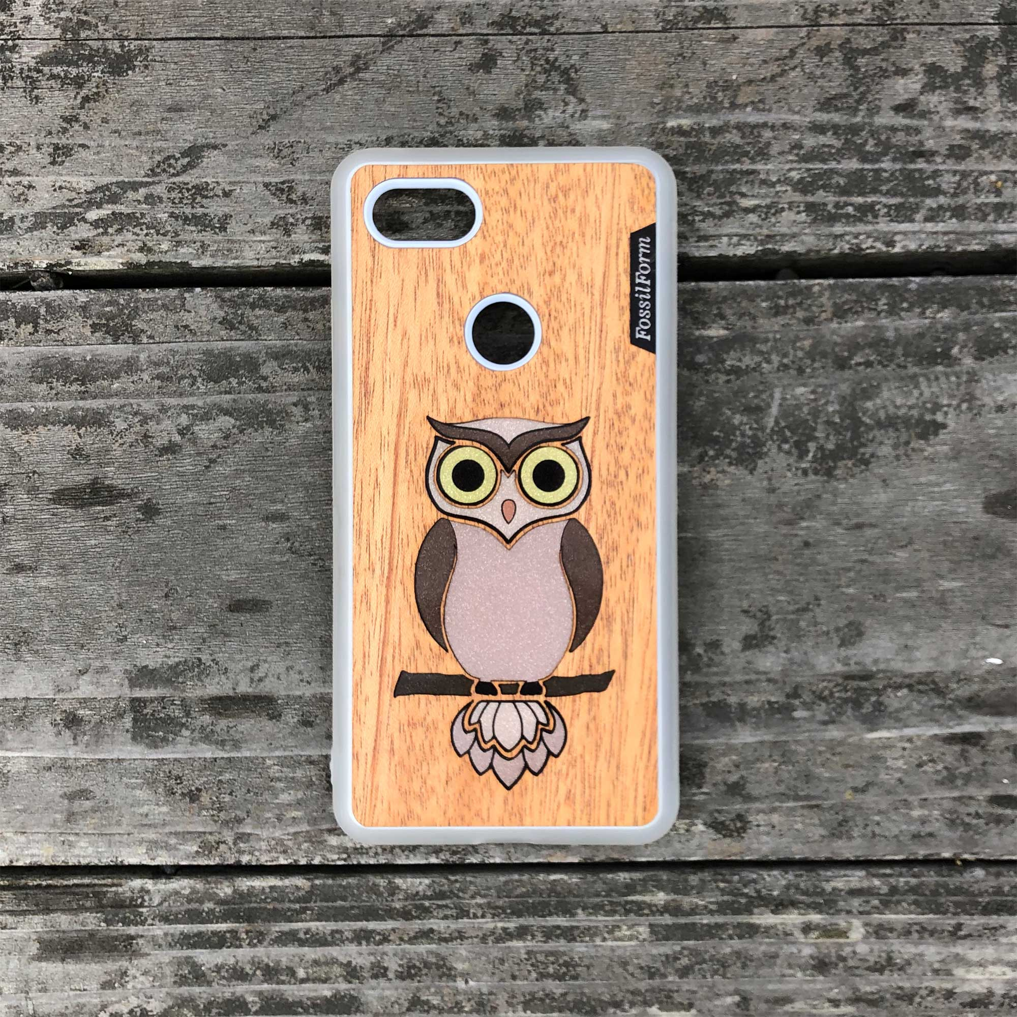 Owl - Wood & Resin Case - White