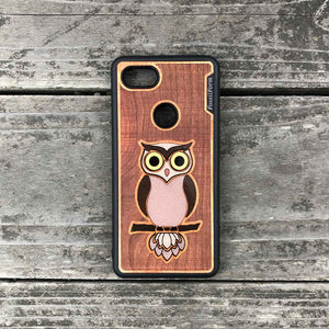 Owl - Engraved Wood & Resin Case - Black
