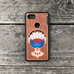 Load image into Gallery viewer, Girl With Native American Feather Headdress - Engraved Wood & Resin Case - Black