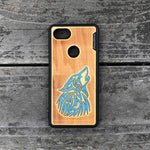 Load image into Gallery viewer, howling Wolf - Engraved Wood & Resin Case - Black