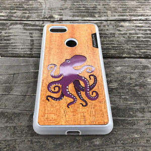 Octopus - Wood & Resin Case - White