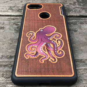 Octopus - Engraved Wood & Resin Case - Black