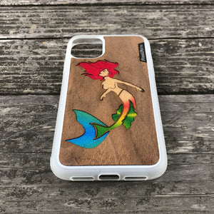 Mermaid - Wood & Resin Case - White