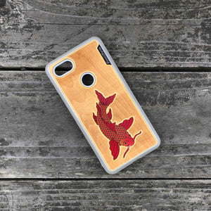 Koi Fish - Engraved Wood & Resin Case - White