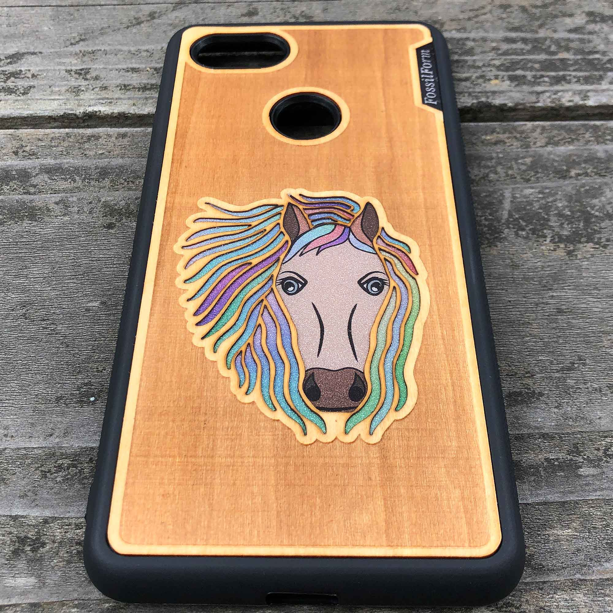 Horse - Engraved Wood & Resin Case - Black