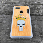 Load image into Gallery viewer, Punisher Skull in Crown - Wood & Resin Case - White