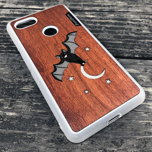 Bat and the Moon - Wood & Resin Case - White