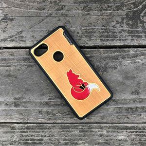Fox - Engraved Wood & Resin Case - Black