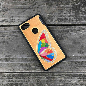 Butterfly Wing - Engraved Wood & Resin Case - Black