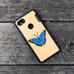 Load image into Gallery viewer, Blue Butterfly - Wood & Resin Case - Black