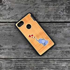 Baby Elephant - Engraved Wood & Resin Case - Black
