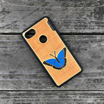 Load image into Gallery viewer, blue butterfly - Engraved Wood Case - Black