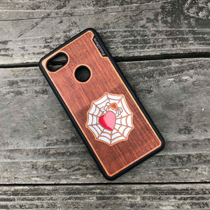 Spider and Heart - Engraved Wood & Resin Case - Black