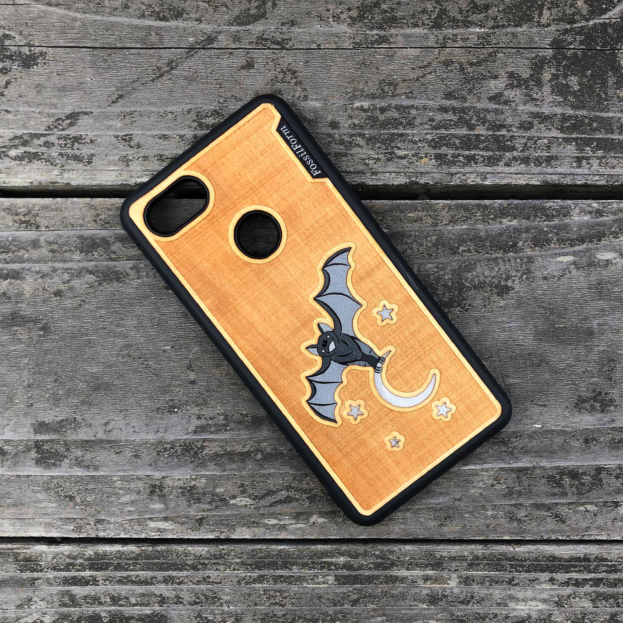 Bat and the Moon - Engraved Wood & Resin Case - Black