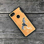 Load image into Gallery viewer, Bat and the Moon - Engraved Wood & Resin Case - Black