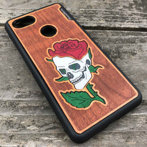 Skull and Rose - Engraved Wood & Resin Case - Black