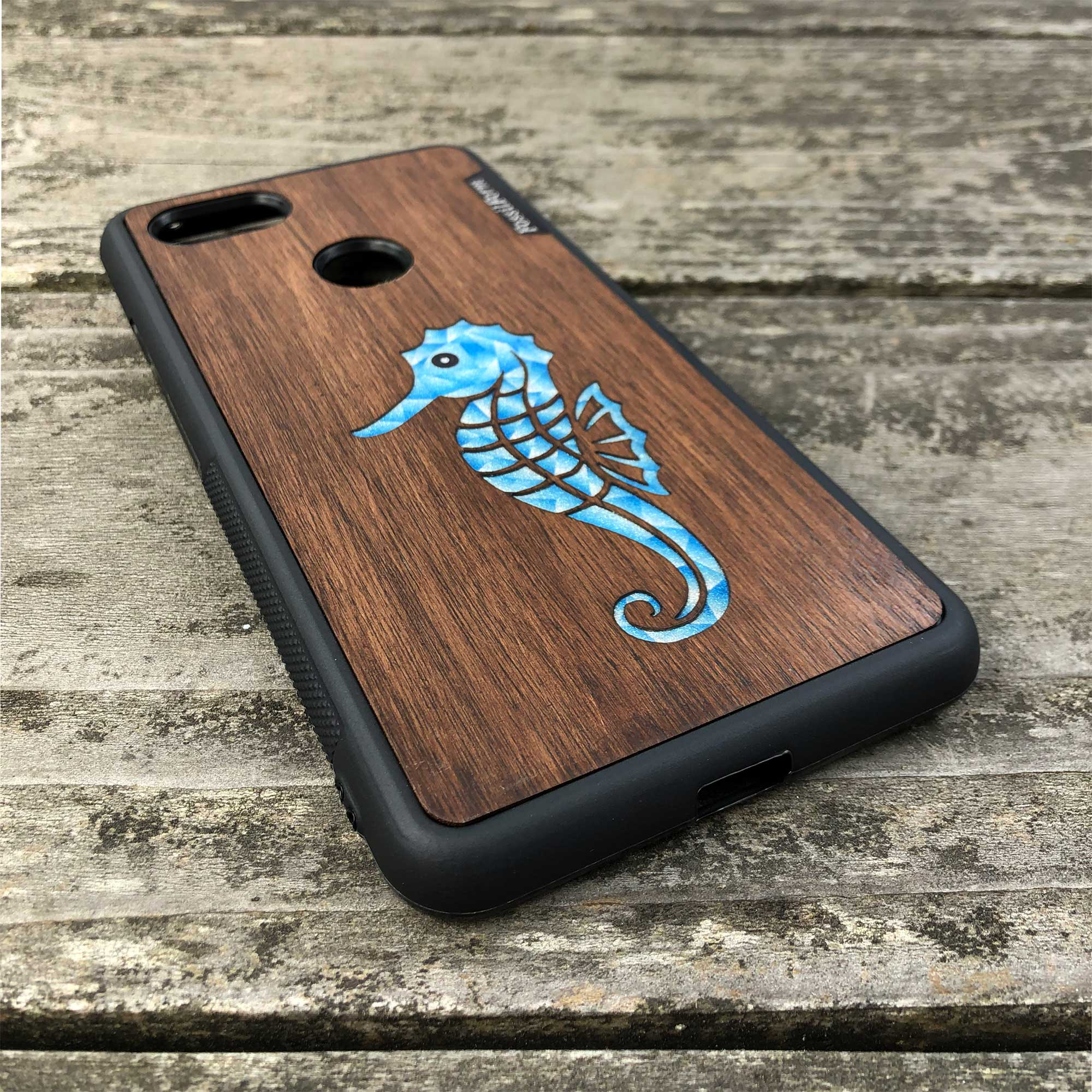Seahorse - Wood & Resin Case - Black