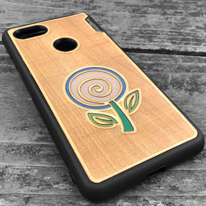 Minimalist Flower - Engraved Wood & Resin Case - Black
