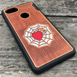 Load image into Gallery viewer, Spider and Heart - Engraved Wood & Resin Case - Black