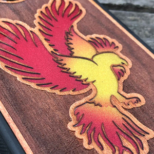 Phoenix - Engraved Wood & Resin Case - Black