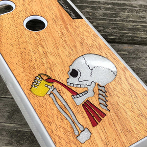 Drinking Skeleton - Wood & Resin Case - White