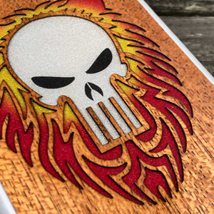 Punisher Skull with Mane - Wood & Resin Case - White