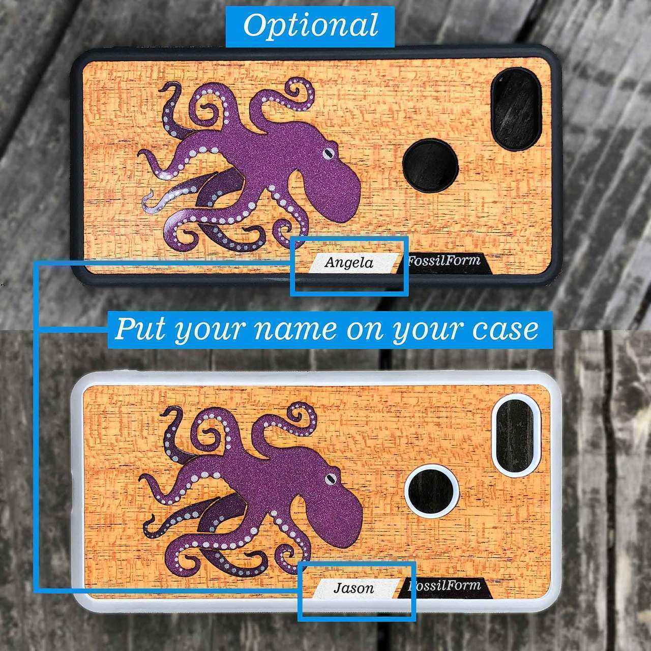 Octopus - Engraved Wood & Resin Case - White
