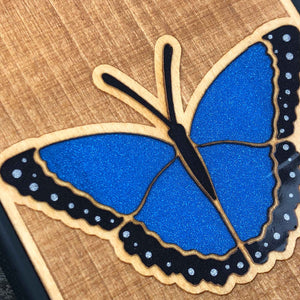 blue butterfly - Engraved Wood Case - Black
