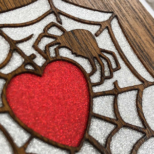 Spider and Heart - Wood & Resin Case - White