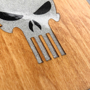 Punisher Skull in Crown - Wood & Resin Case - White