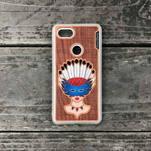 Girl With Native American Feather Headdress - Engraved Wood & Resin Case - White