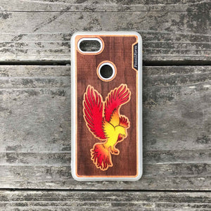 Phoenix - Engraved Wood & Resin Case - White
