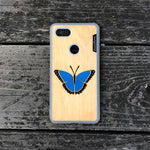 Load image into Gallery viewer, Blue Butterfly - Wood & Resin Case - White