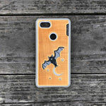 Load image into Gallery viewer, Bat and the Moon - Engraved Wood & Resin Case - White