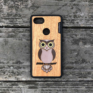 Owl - Wood & Resin Case - Black