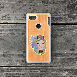 Horse - Engraved Wood & Resin Case - White
