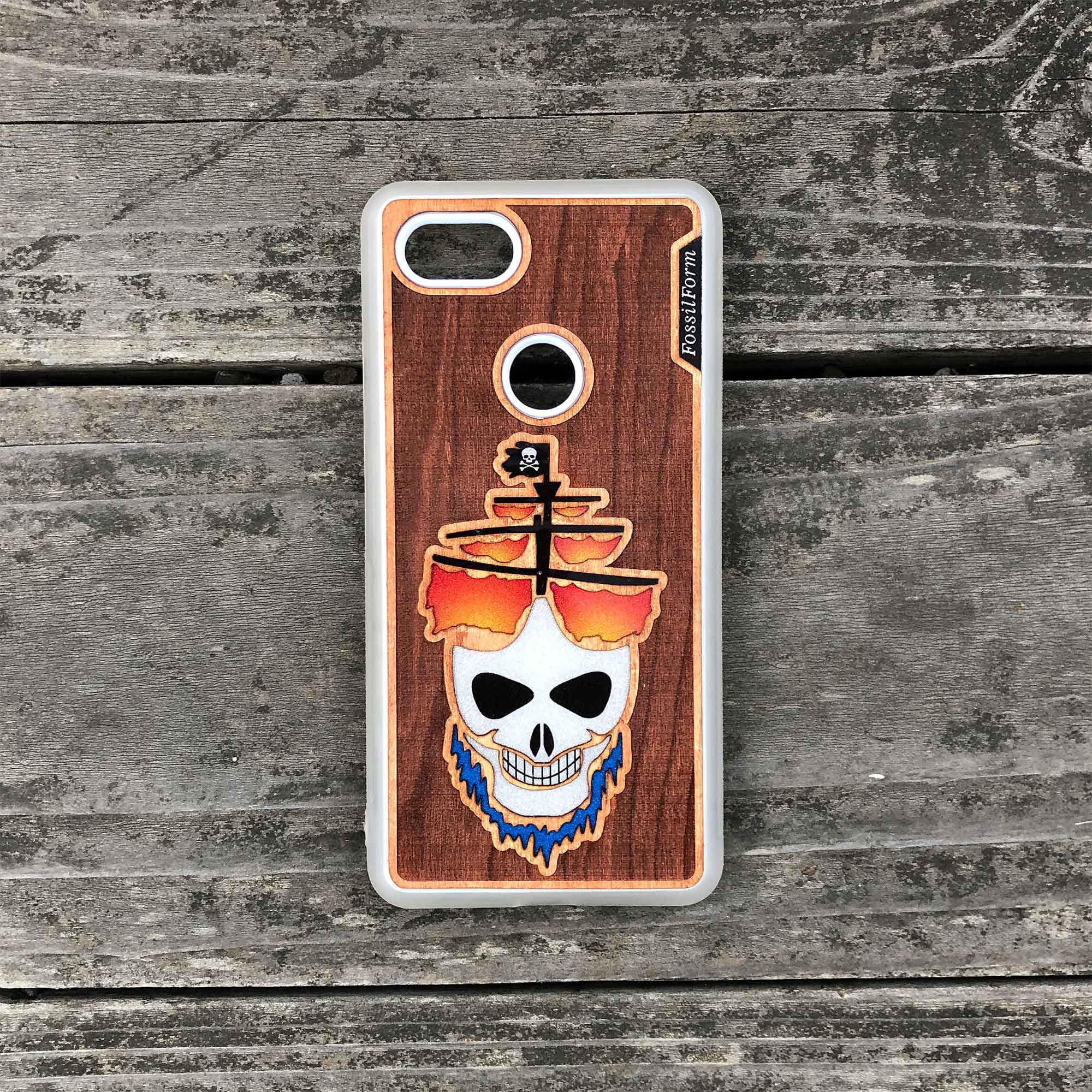 Ghost Pirate Ship - Engraved Wood & Resin Case - White