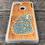 Load image into Gallery viewer, howling Wolf - Engraved Wood & Resin Case - White