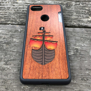Pirate Ship - Wood & Resin Case - Black