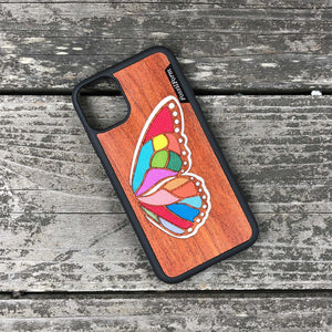 Butterfly Wing - Wood & Resin Case - Black