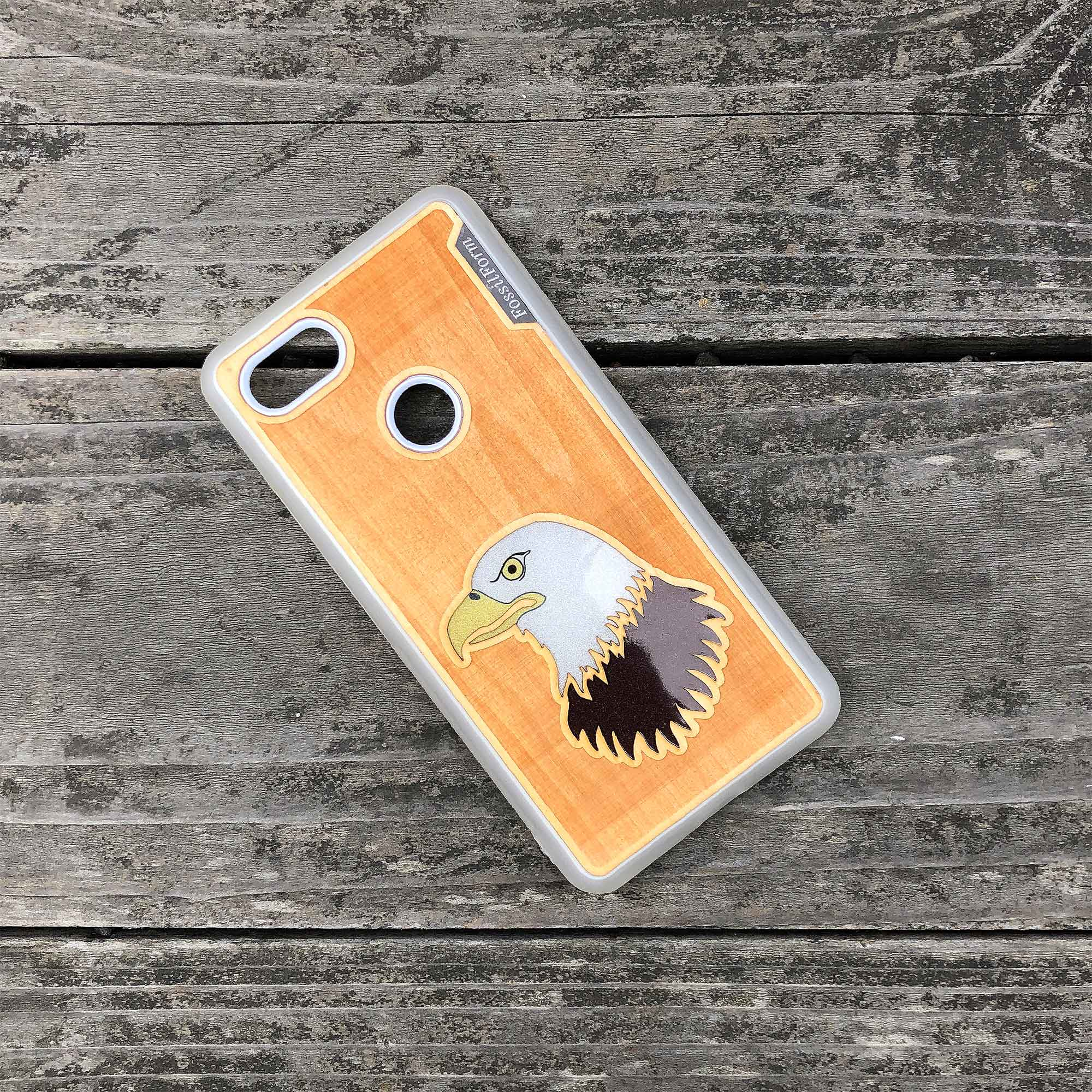 Bald Eagle - Engraved Wood Case - White