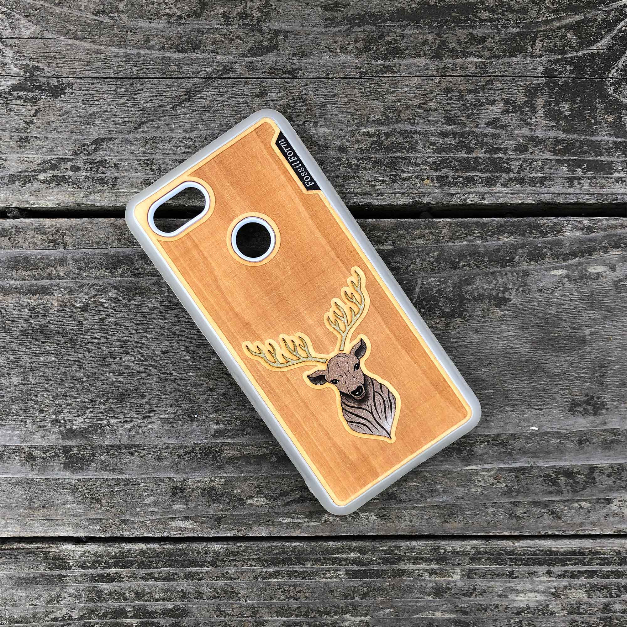 Elk - Engraved Wood & Resin Case - White
