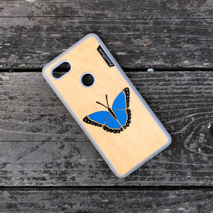 Blue Butterfly - Wood & Resin Case - White