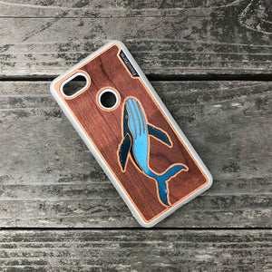 Humpback whale - Engraved Wood & Resin Case - White