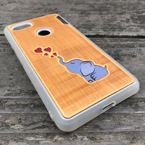 Baby Elephant - Engraved Wood & Resin Case - White
